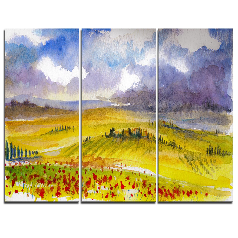 DesignArt Beautiful Tuscan Hills Italy - 3 Piece Painting Print on ...