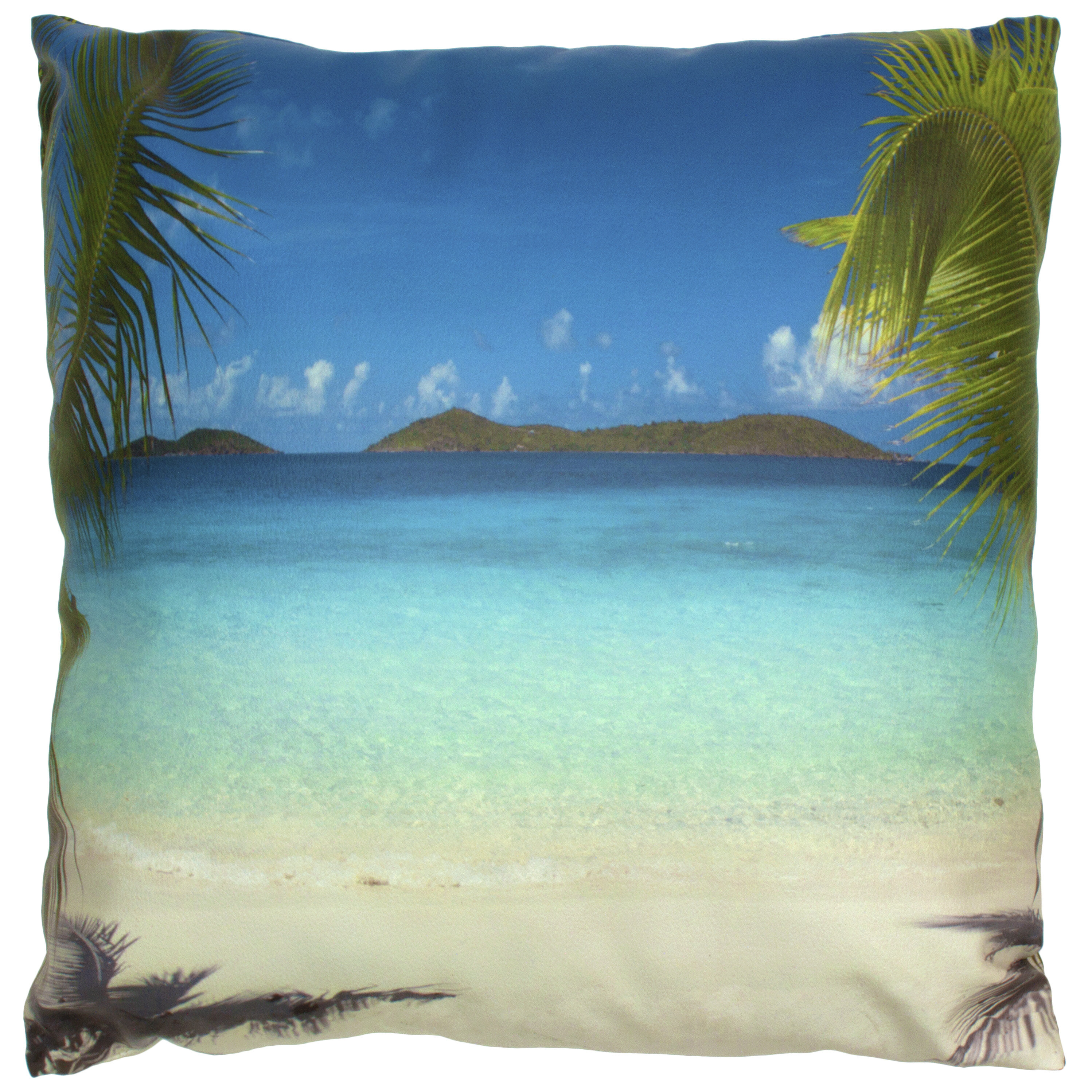 Bay Isle Home Kaplan Caribbean Beach Faux Leather Throw Pillow Wayfair