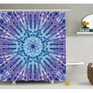 Audenried Tie Dye Original Circle Mandala Motif Centered Vibrant Spectral Color Motion Graphic Single Shower Curtain