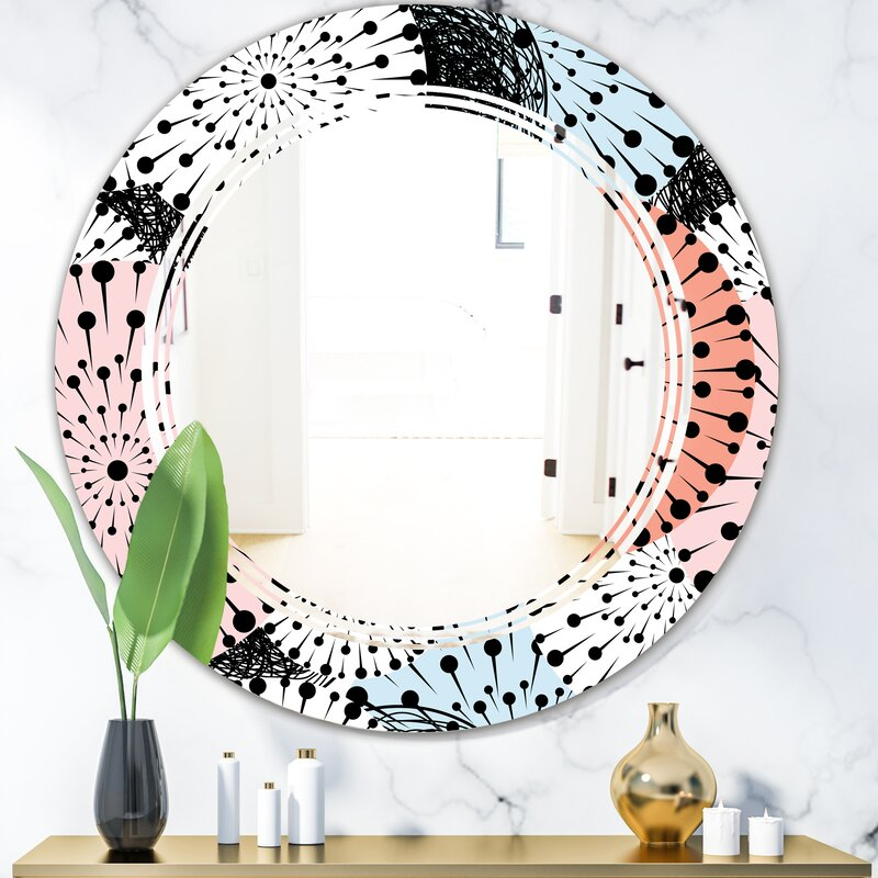 East Urban Home Triple C Abstract Flower Design I Cottage Americana Frameless Wall Mirror