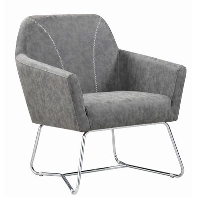 Upholstered Accent Chair Grey And Chrome Decor+