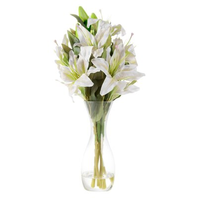 House Of Hampton Tall Lily Floral Arrangement In Glass Vase Wayfair