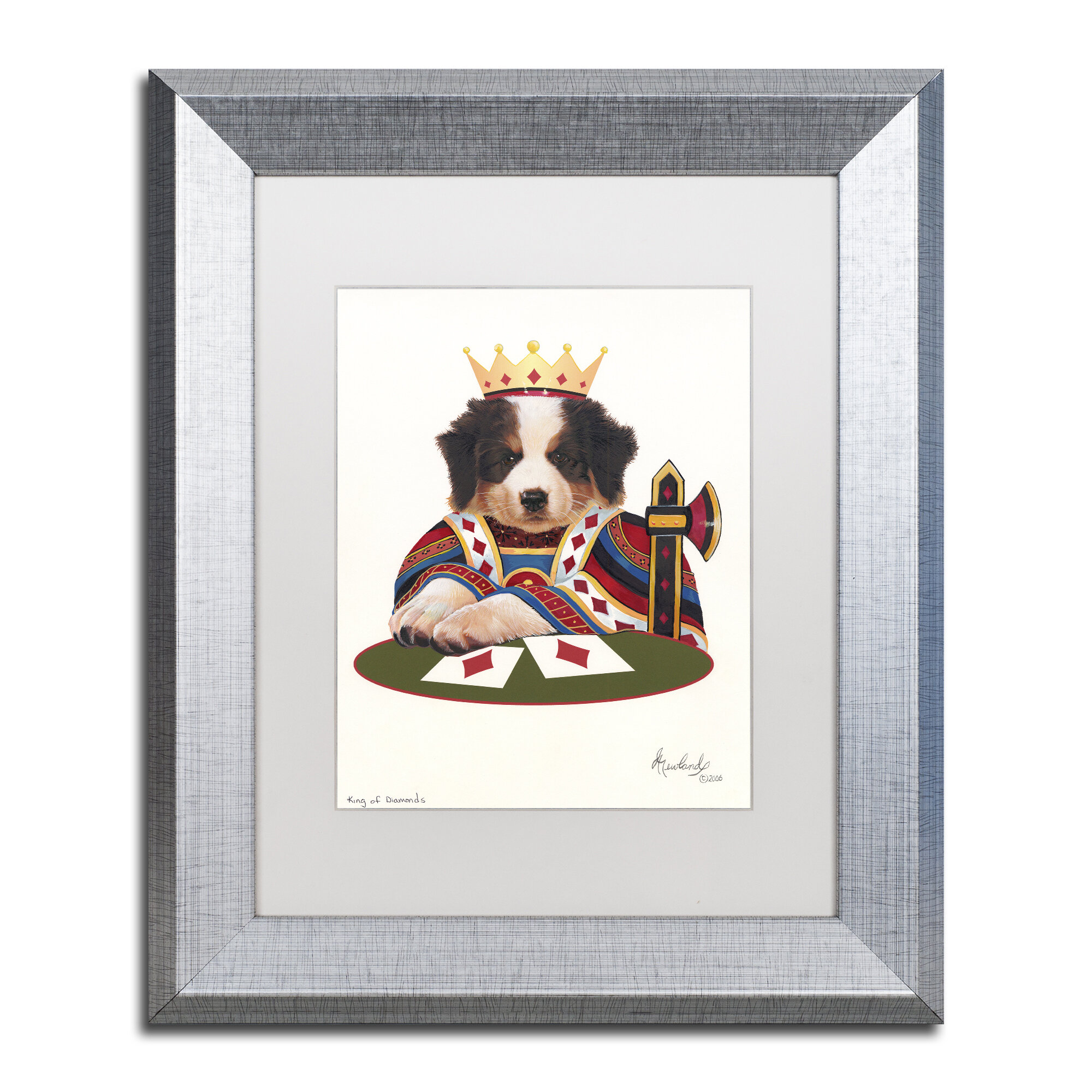 Trademark Art \'King of Diamonds\' by Jenny Newland Framed Graphic Art ...