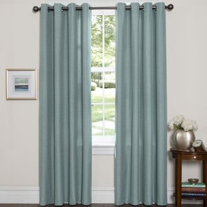 leah solid blackout thermal grommet curtain panels set of 2