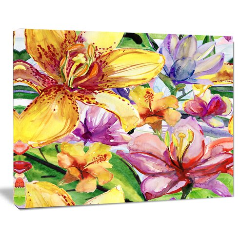 DesignArt Lily Flowers Illustration Painting Print on Wrapped Canvas ...