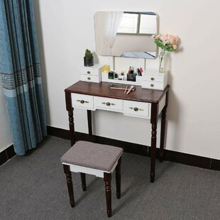 Christen Dressing Table Set With Mirror By Rosalind Wheeler