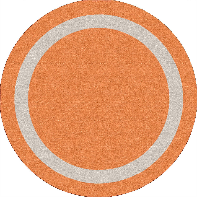 Cheap Straten Border Hand Tufted Wool Orange Silver Area Rug Furniture Online