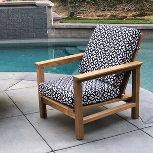 Bungalow Rose Cotter Teak Patio Chair with Sunbrella Cushions