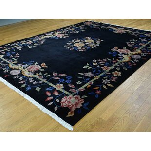 Best Choices One-of-a-Kind Boehmer Art Deco Handwoven Black Wool Area Rug By Isabelline