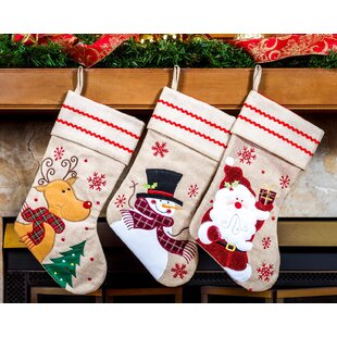 e36a7bef3 Burlap Christmas Stocking Set (Set of 3)