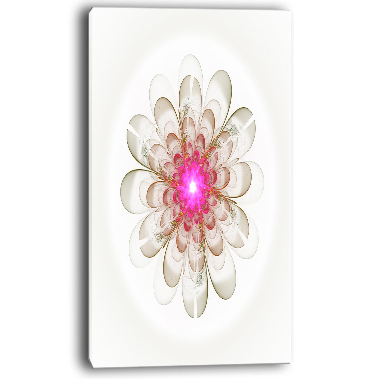 Designart Simple White Pink Fractal Flower Art Graphic Art On Wrapped Canvas Wayfair