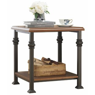 Mollie Wood and Iron Side End Table by Charlton Home