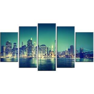 u0027New York City Panorama Night Conceptu0027 5 Piece Wall Art on Wrapped Canvas Set  sc 1 st  Wayfair & Broadway Wall Art   Wayfair