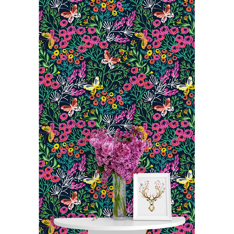 Winston Porter Bashaw Wild Flowers Mix 120 L X 25 W Peel And Stick Wallpaper Panel Wayfair