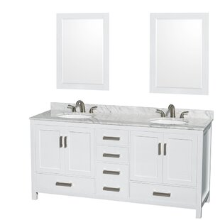 Price Check Sheffield 72 Double White Bathroom Vanity Set with Mirror ByWyndham Collection