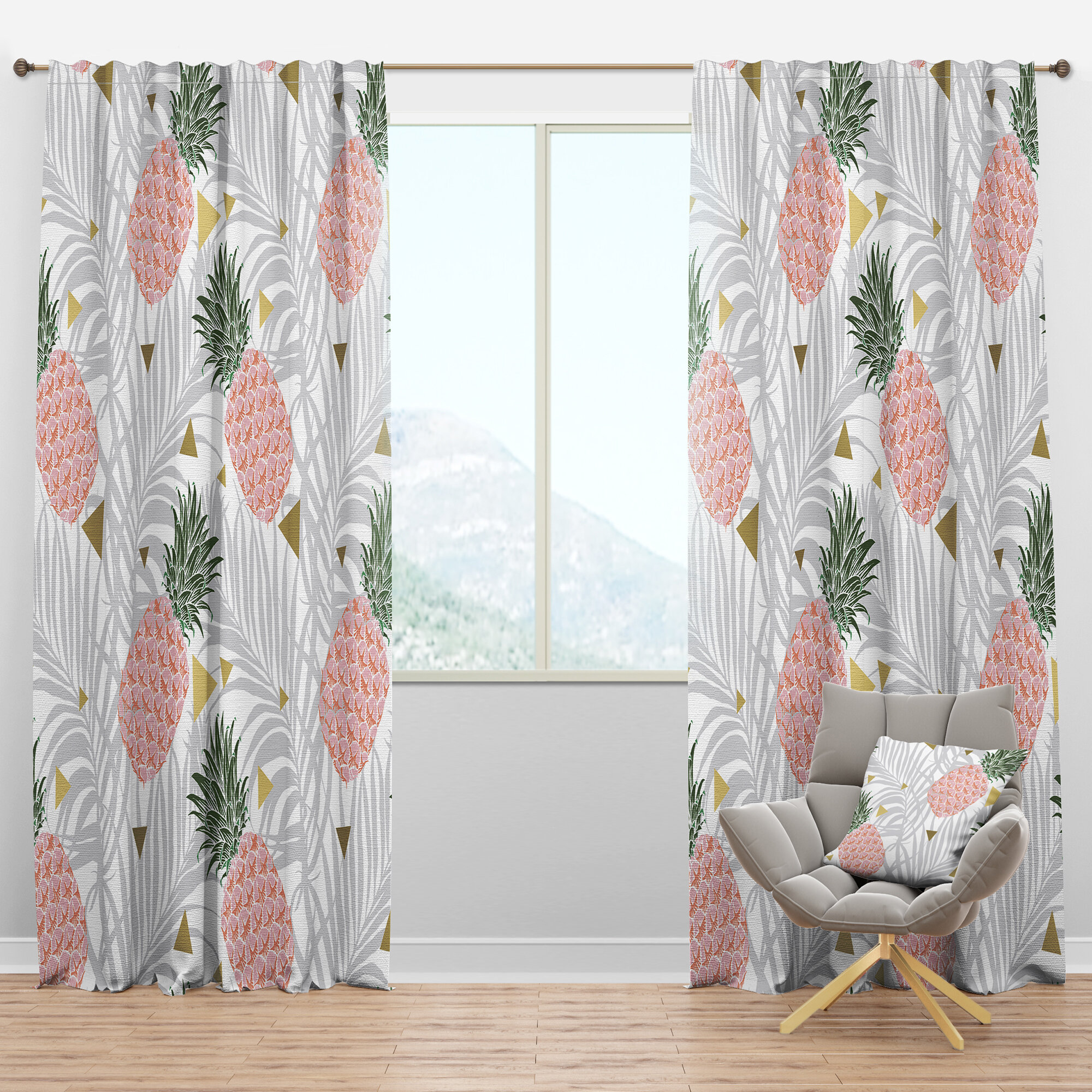 Designart Pineappple On Tropical Leaves Semi Sheer Thermal Rod Pocket Single Curtain Panel Wayfair