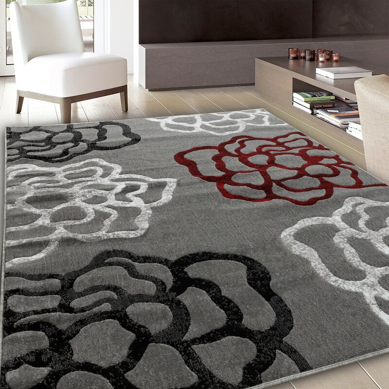 Ebern Designs Kimbrel Floral Gray Red Area Rug Reviews Wayfair