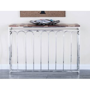 2 Piece Stainless Steel/Wood Nest Console Table Set