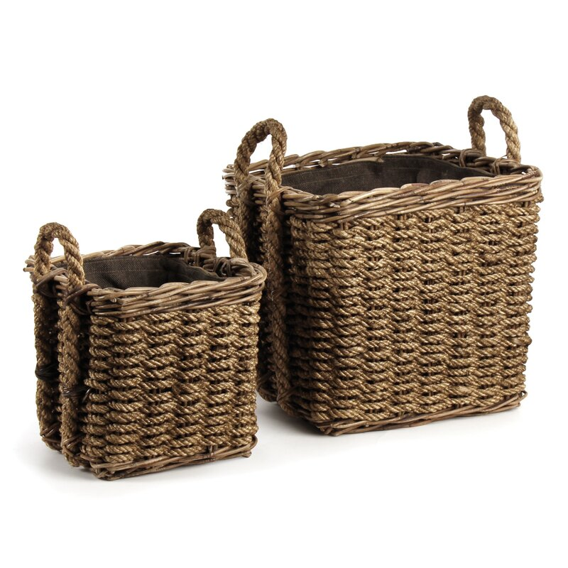 Woven Rope 2 Piece Basket Set