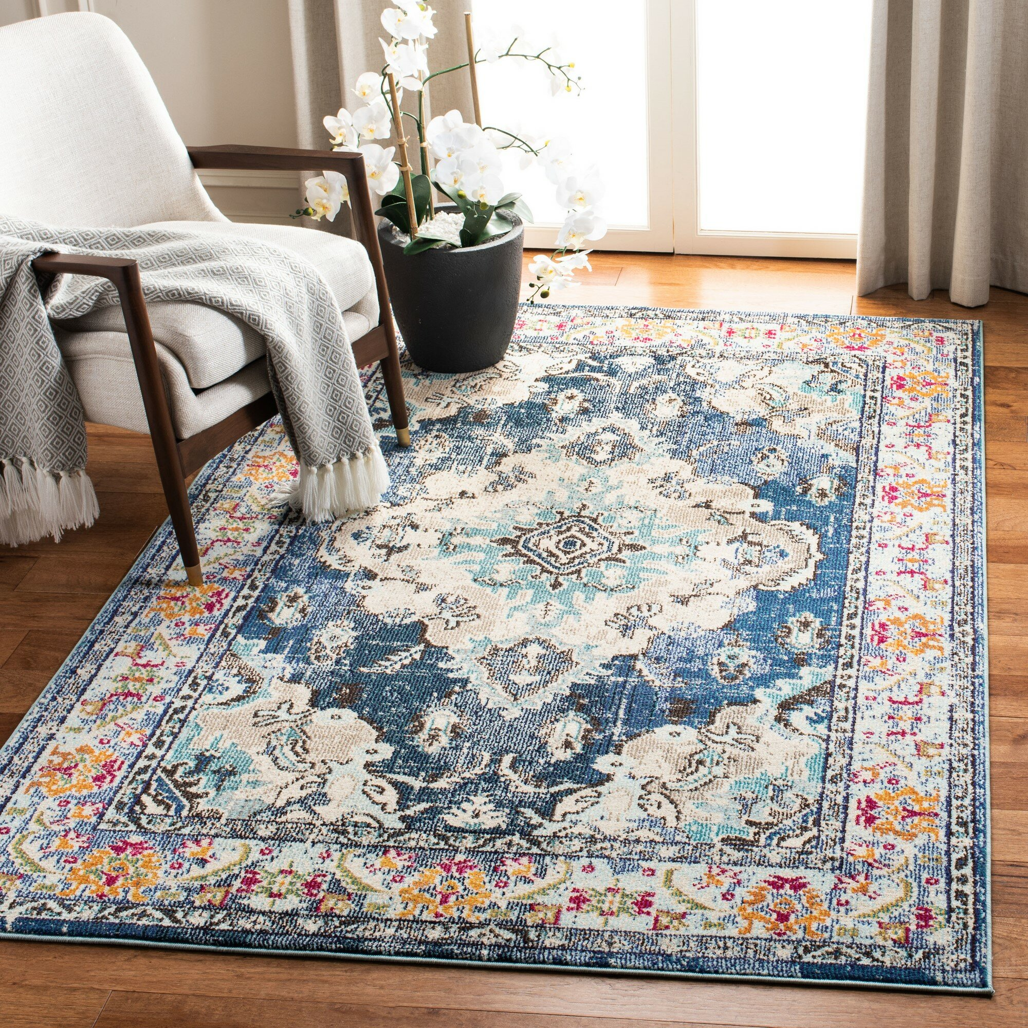 Three Posts Ponca Oriental Navy Light Blue Area Rug Reviews Wayfair