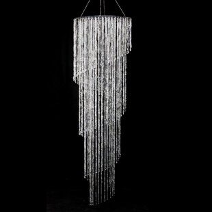 Binns Iridescent Diamond Cut Bead Spiral Crystal Chandelier