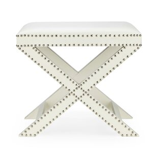 Winterbourne Nailhead Trim Wooden Vanity Stool by Mercer41