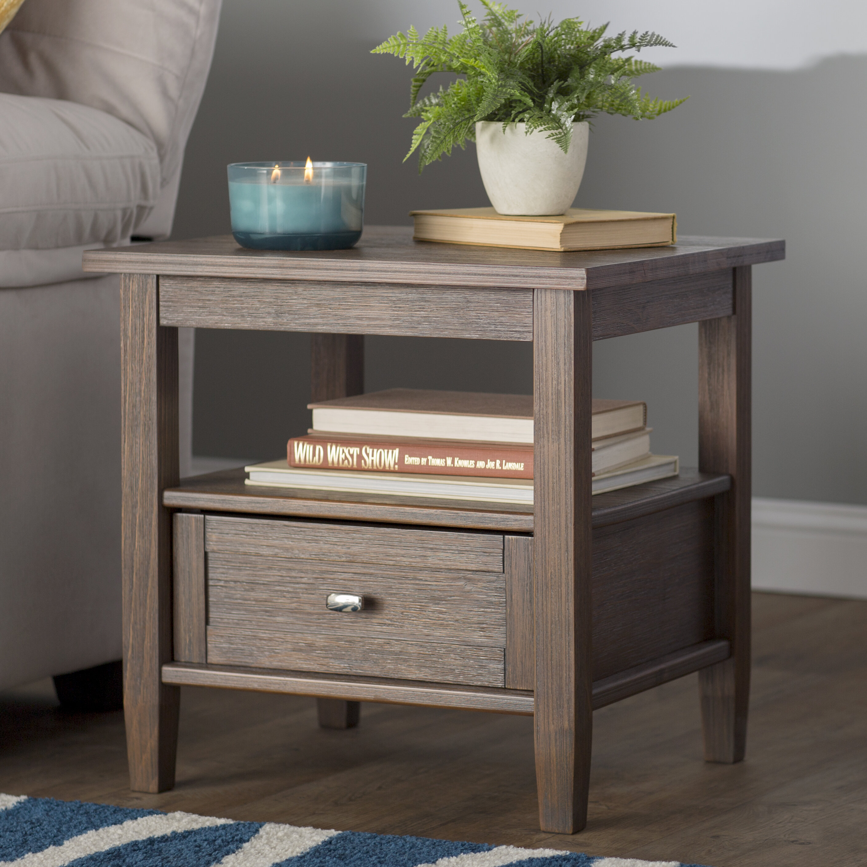 Alcott Hill Solid Wood 4 Legs 1 Drawer End Table With Storage Reviews Wayfair