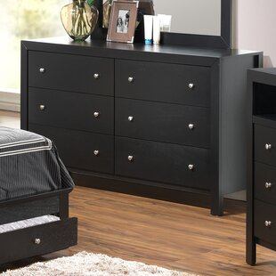 Reviews Carbon 6 Drawer Double Dresser with Mirror by Three Posts