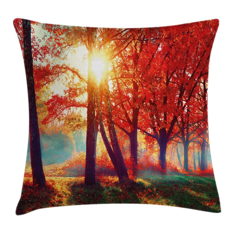 East Urban Home Autumnal Foggy Park Fall Nature Scenic Scenery Maple Trees Sunbeams Woods Indoor Outdoor 36 Throw Pillow Cover Wayfair