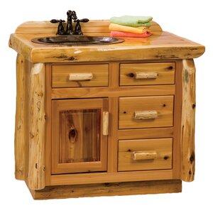 Traditional Cedar Log 42″ Bathroom Vanity Base