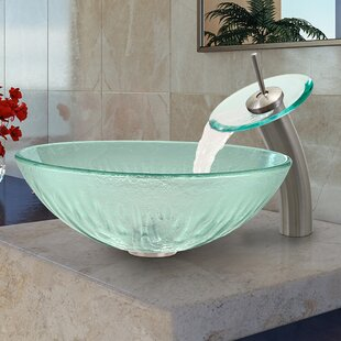 Icicles Glass Circular Vessel Bathroom Sink with Faucet by VIGO