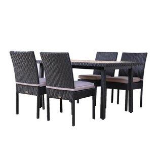 Brayden Studio Milone 5 Piece Outdoor Dining Set with Cushions