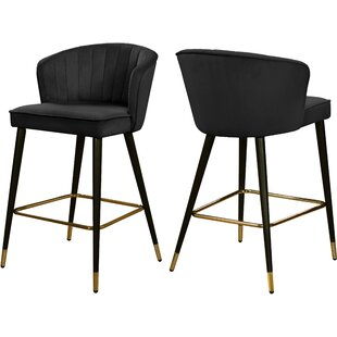 Stratton Velvet 36.5 Stool (Set of 2) Everly Quinn