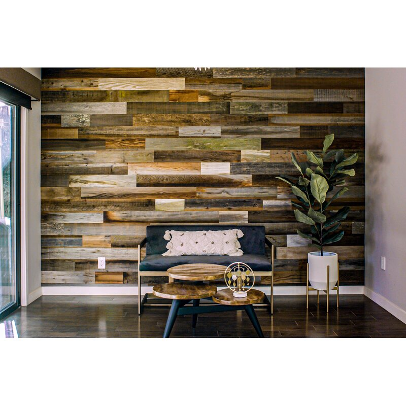 Rewoodd 5 X 48 Reclaimed Peel And Stick Solid Wood Wall Paneling Reviews Wayfair