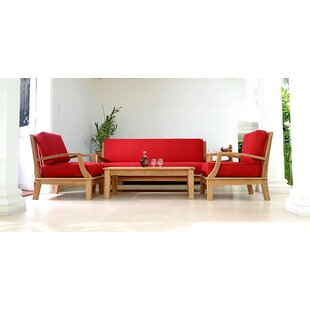 Bainum Teak 4 Piece Sunbrella Sofa Set with Cushions