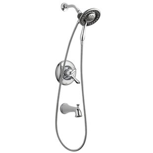 Compare prices Linden Tub and Shower Trim Package with In2ition Shower Head and Hand Shower (Rough-In Valve Not Included) ByDelta