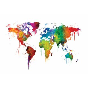 World map wall art world map series dripping effect i graphic art on wrapped canvas gumiabroncs Choice Image