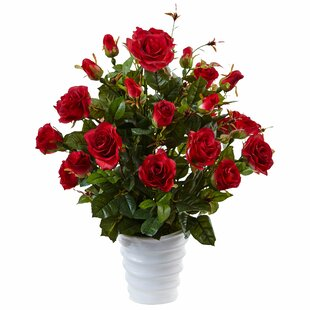 Silk Rose Bush Floral Arrangement in Planter