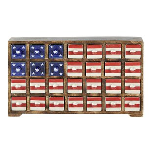 Kindwer Curios Stars and Stripes 28 Drawer Wood Apothecary Accent Chest