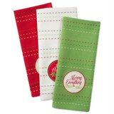 Boughs of Holly Embellished 3 Piece Dish Cloth Set