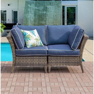 Somerton Outdoor 2 Piece Rattan Sectional Seating Group with Cushions