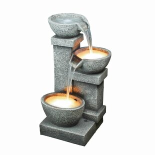 Wildon Home ® Resin Cascading 3 Bowl Fountain with LED Light