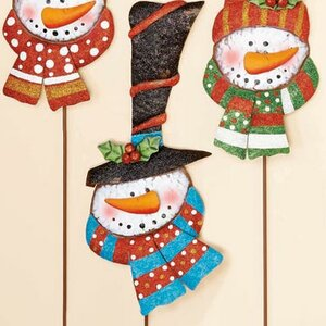 Snowman with Hat Christmas Garden Stake