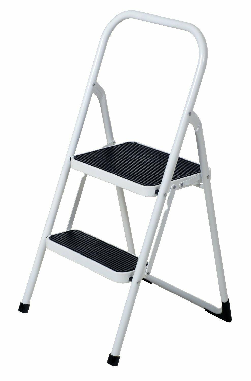 White Home Easy Folding Bed Bathroom Kitchen Dorm Office Foot Ladder Step Stool