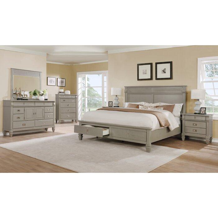 Vasilikos Gray Solid Wood Construction Platform 5 Piece Bedroom Set