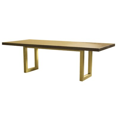 "Burnished Dining Table Base Color: Burnished Silver, Top Color: Shadow, Size: 29"" H x 72"" W x 42"" D"