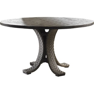 Tommy Bahama Outdoor Blue Olive Wicker Rattan Dining Table