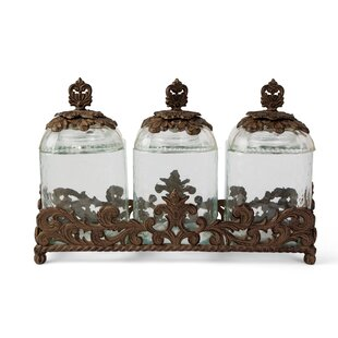 Acanthus 3 Piece Kitchen Canister Set