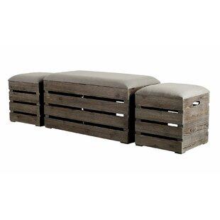Admiranda 3 Piece Wood Storage Bench Set by Gracie Oaks