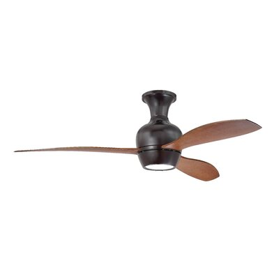 Brayden Studio 52 Sylvan Place 3 Blade LED Ceiling Fan Finish: Oiled Bronze with Walnut Blades